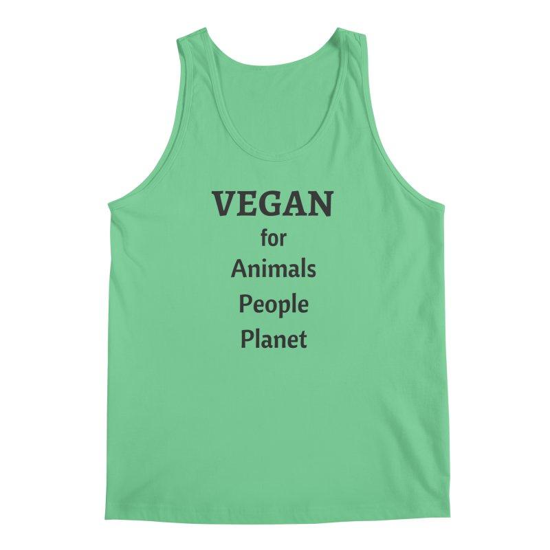 VEGAN for Animals People Planet [Style 4] (Black Font) Men's Regular Tank by That Vegan Couple's Shop