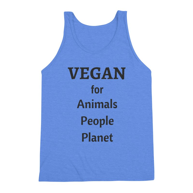 VEGAN for Animals People Planet [Style 4] (Black Font) Men's Triblend Tank by That Vegan Couple's Shop