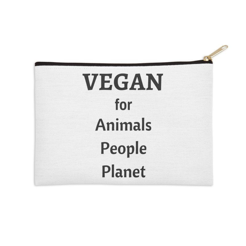 VEGAN for Animals People Planet [Style 4] (Black Font) Accessories Zip Pouch by That Vegan Couple's Shop