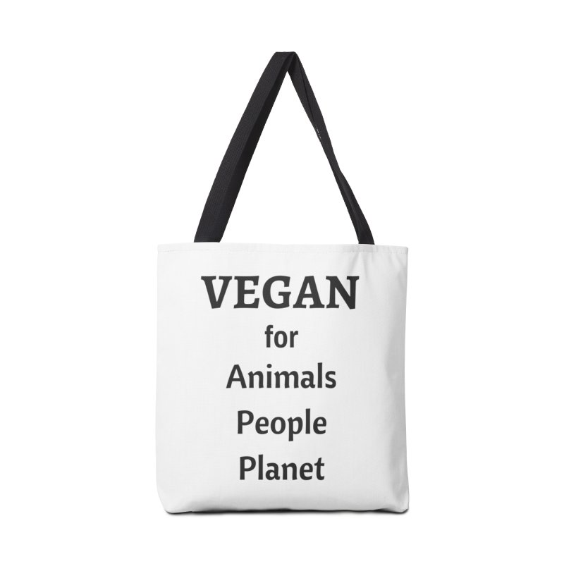 VEGAN for Animals People Planet [Style 4] (Black Font) Accessories Tote Bag Bag by That Vegan Couple's Shop