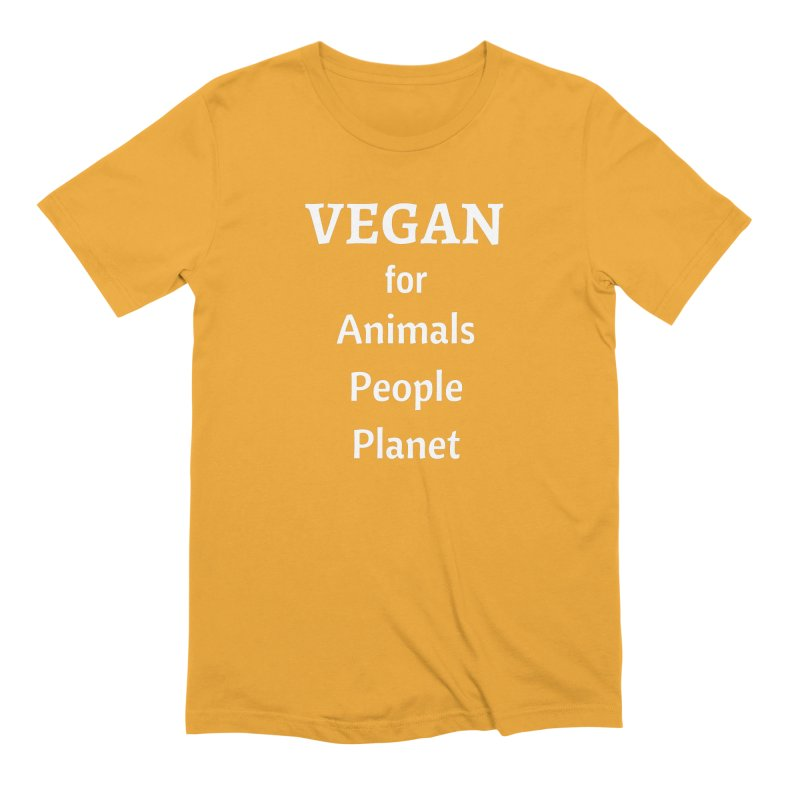 VEGAN for Animals People Planet [Style 4] (White Font) Men's Extra Soft T-Shirt by That Vegan Couple's Shop