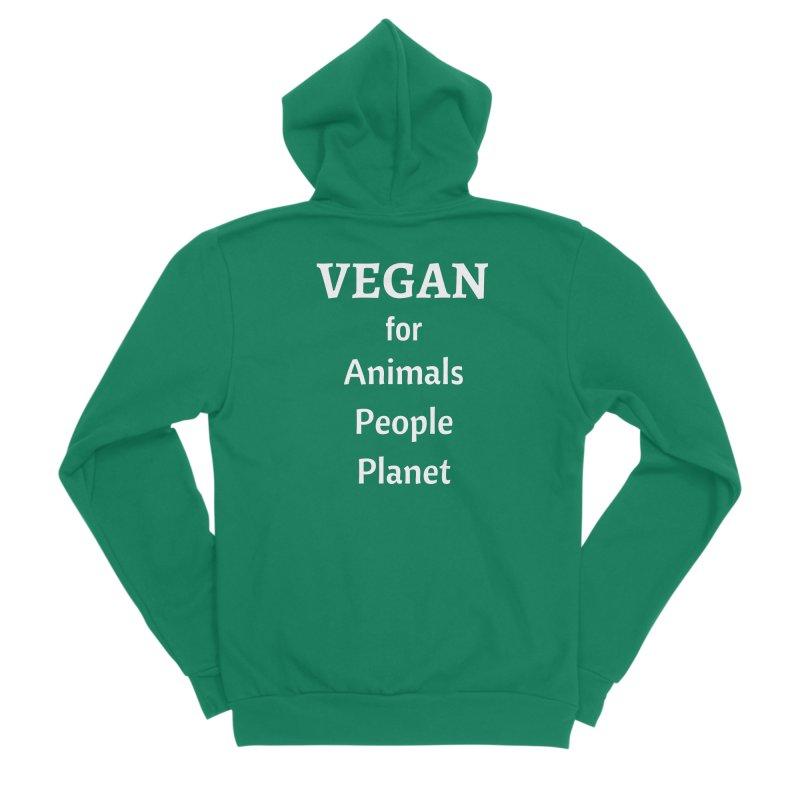 VEGAN for Animals People Planet [Style 4] (White Font) Women's Sponge Fleece Zip-Up Hoody by That Vegan Couple's Shop