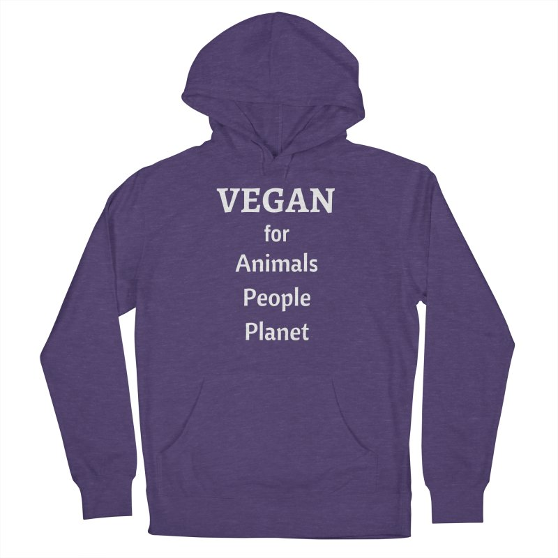 VEGAN for Animals People Planet [Style 4] (White Font) Men's French Terry Pullover Hoody by That Vegan Couple's Shop