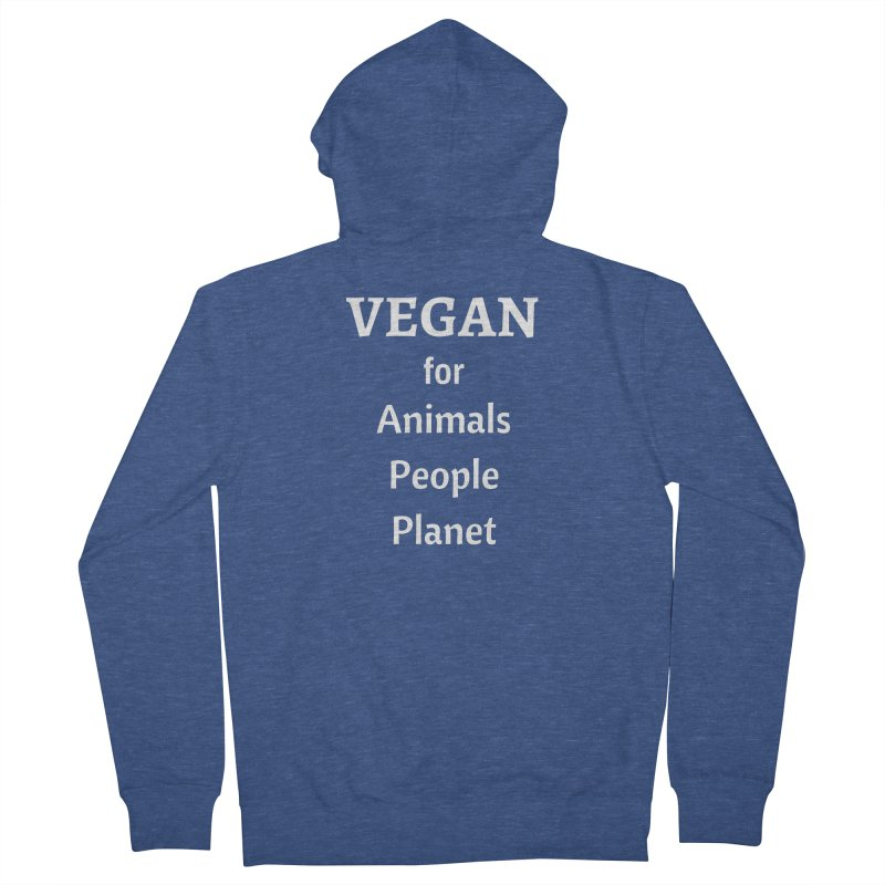 VEGAN for Animals People Planet [Style 4] (White Font) Women's Zip-Up Hoody by That Vegan Couple's Shop