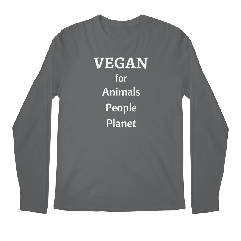 VEGAN for Animals People Planet [Style 4] (White Font) Men's Regular Longsleeve T-Shirt by That Vegan Couple's Shop