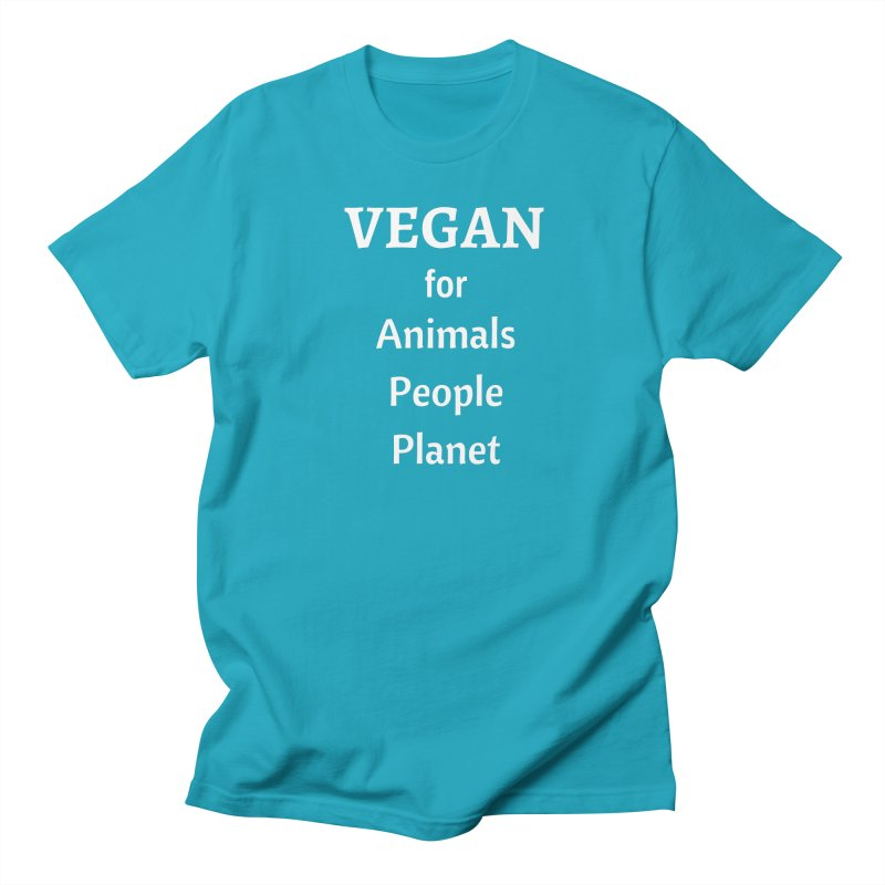 VEGAN for Animals People Planet [Style 4] (White Font) Women's T-Shirt by That Vegan Couple's Shop