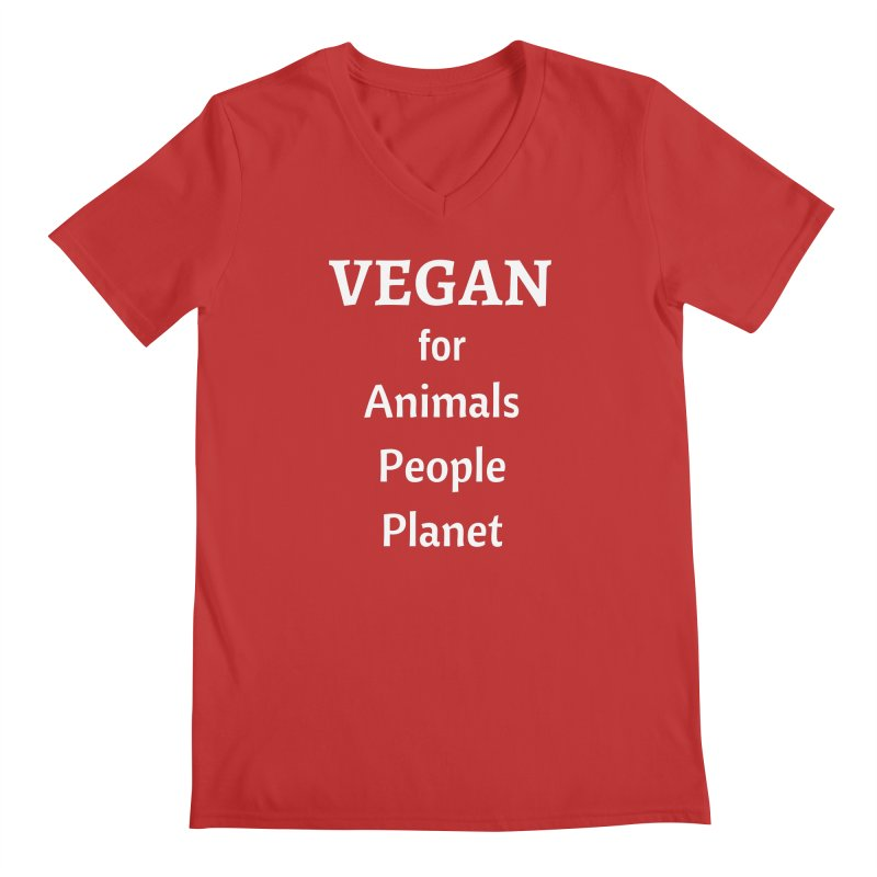 VEGAN for Animals People Planet [Style 4] (White Font) Men's Regular V-Neck by That Vegan Couple's Shop