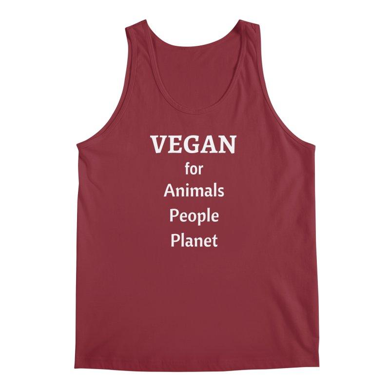 VEGAN for Animals People Planet [Style 4] (White Font) Men's Regular Tank by That Vegan Couple's Shop