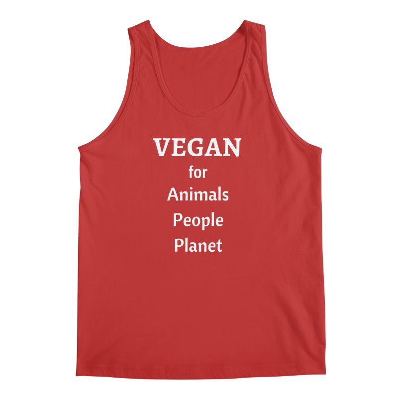 VEGAN for Animals People Planet [Style 4] (White Font) Men's Regular Tank by That Vegan Couple's Shop
