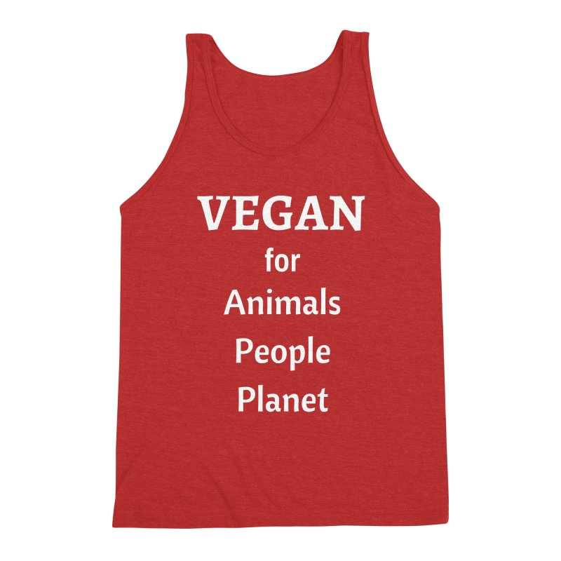 VEGAN for Animals People Planet [Style 4] (White Font) Men's Triblend Tank by That Vegan Couple's Shop