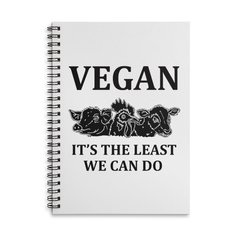 VEGAN IT'S THE LEAST WE CAN DO [Style 8] (Black Font) Accessories Lined Spiral Notebook by That Vegan Couple's Shop