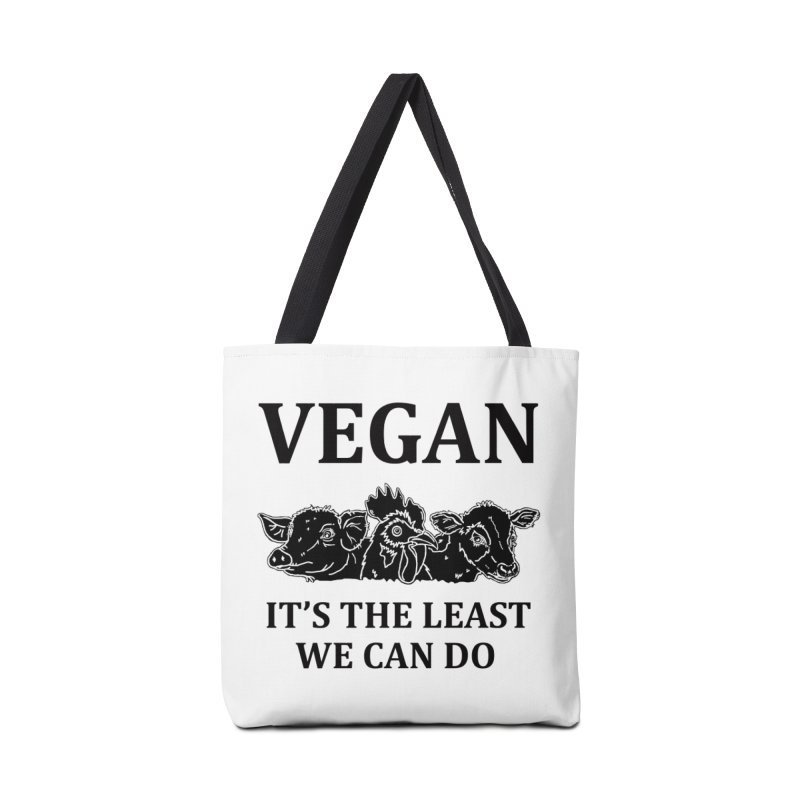 VEGAN IT'S THE LEAST WE CAN DO [Style 8] (Black Font) Accessories Tote Bag Bag by That Vegan Couple's Shop