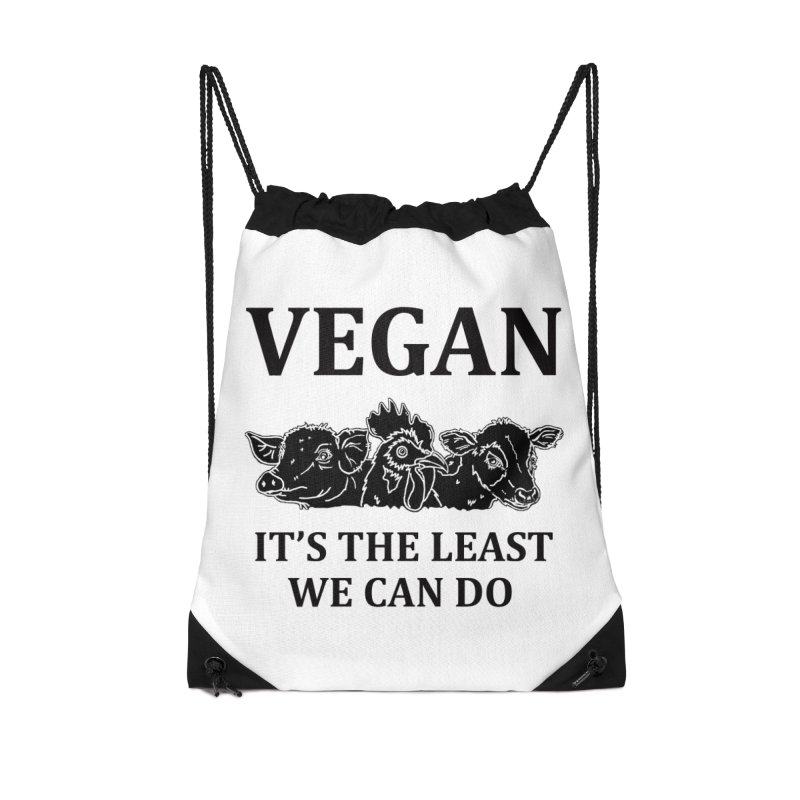 VEGAN IT'S THE LEAST WE CAN DO [Style 8] (Black Font) Accessories Drawstring Bag Bag by That Vegan Couple's Shop