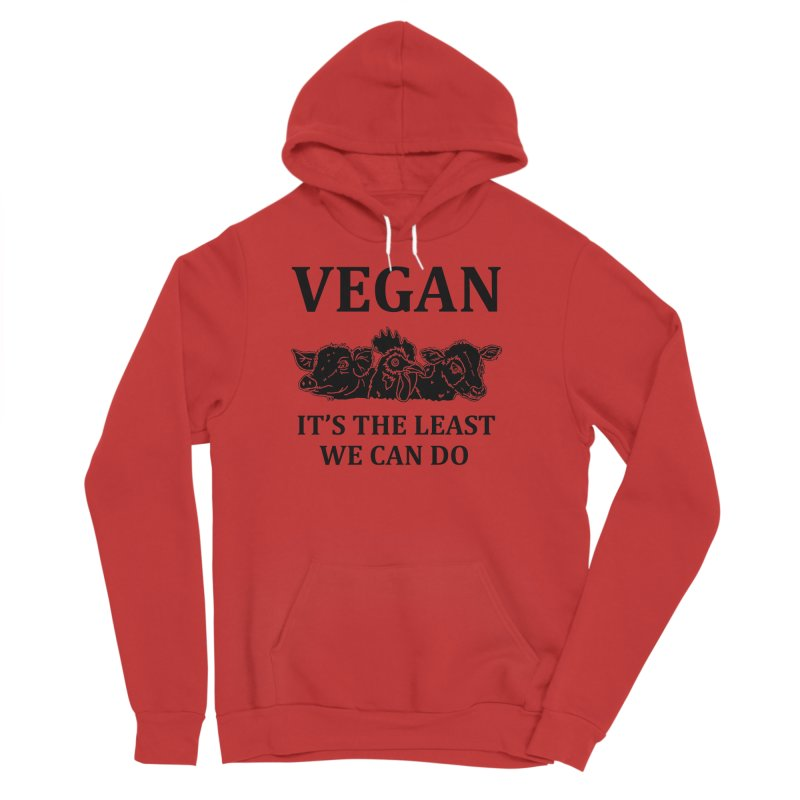 VEGAN IT'S THE LEAST WE CAN DO [Style 8] (Black Font) Men's Sponge Fleece Pullover Hoody by That Vegan Couple's Shop