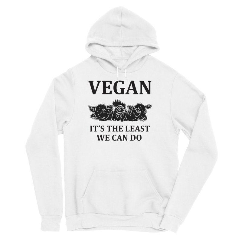 VEGAN IT'S THE LEAST WE CAN DO [Style 8] (Black Font) Men's Sponge Fleece Pullover Hoody by That Vegan Couple's Shop