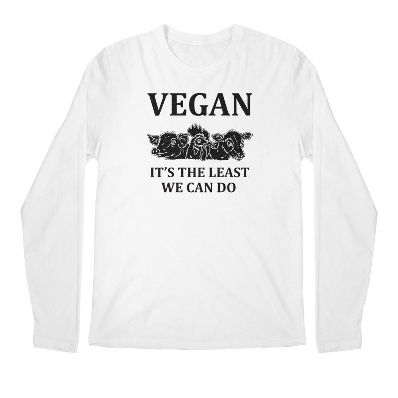VEGAN IT'S THE LEAST WE CAN DO [Style 8] (Black Font) Men's Regular Longsleeve T-Shirt by That Vegan Couple's Shop