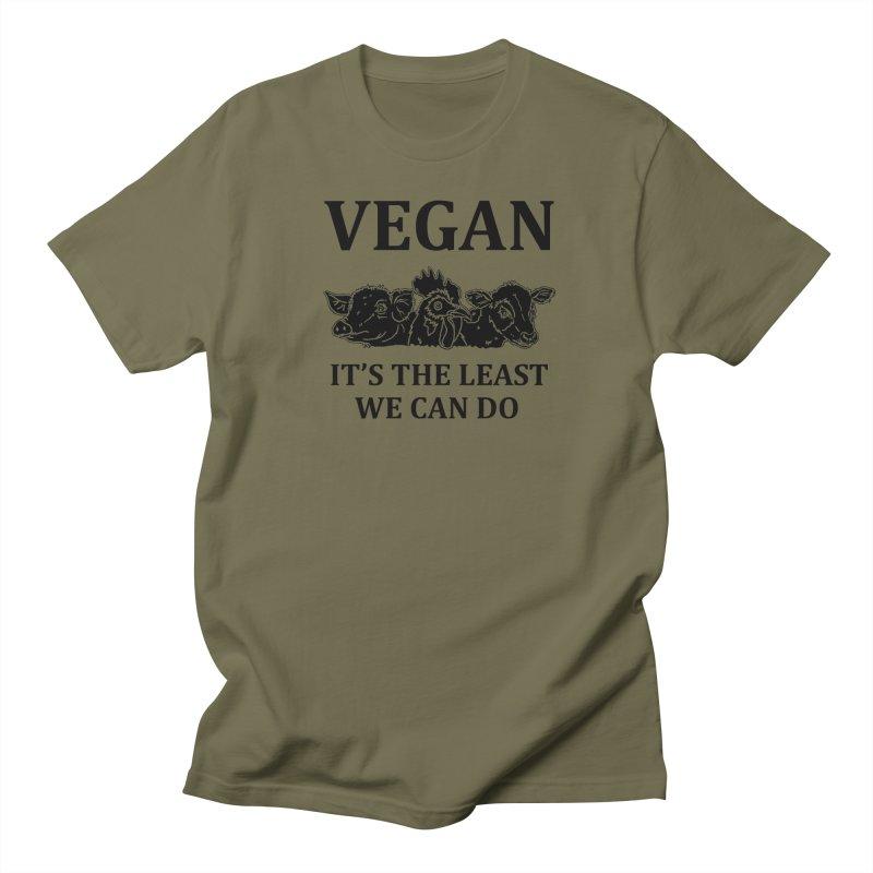 VEGAN IT'S THE LEAST WE CAN DO [Style 8] (Black Font) Women's Regular Unisex T-Shirt by That Vegan Couple's Shop