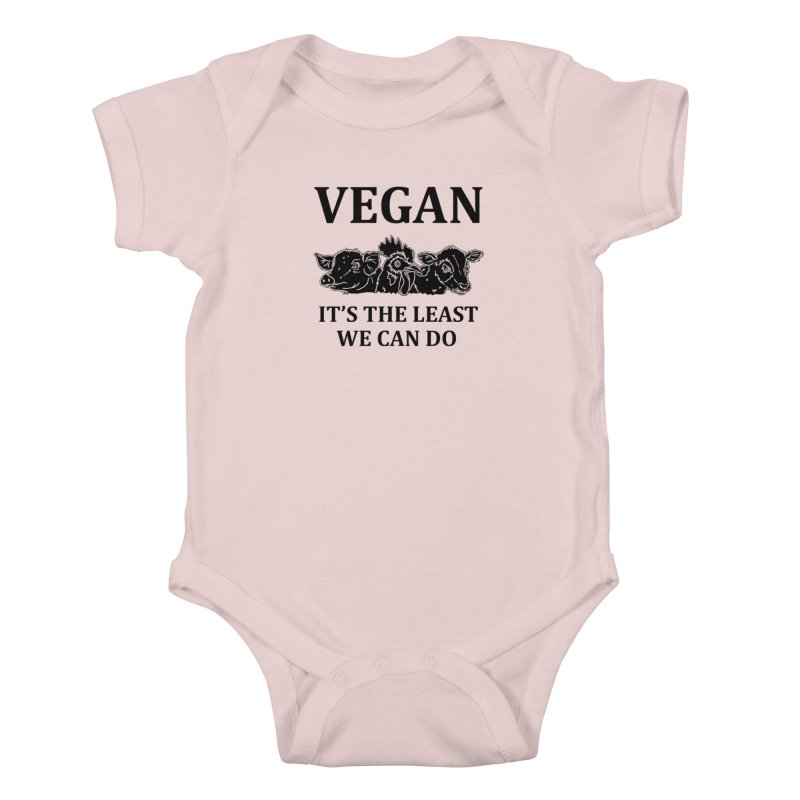 VEGAN IT'S THE LEAST WE CAN DO [Style 8] (Black Font) Kids Baby Bodysuit by That Vegan Couple's Shop