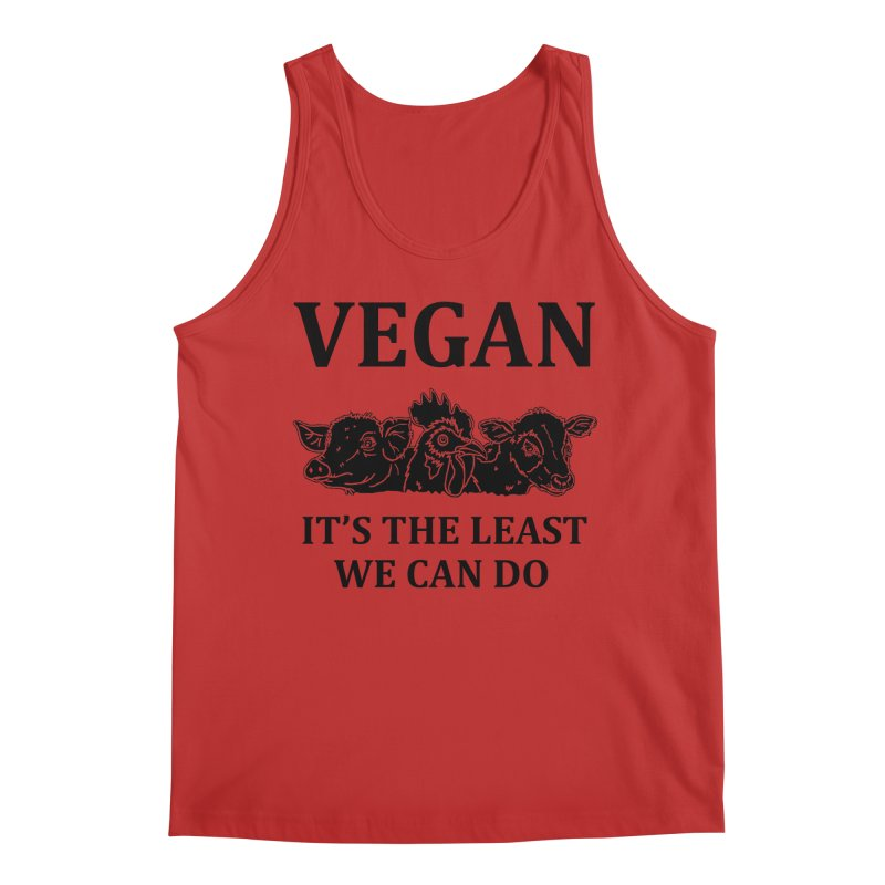 VEGAN IT'S THE LEAST WE CAN DO [Style 8] (Black Font) Men's Regular Tank by That Vegan Couple's Shop