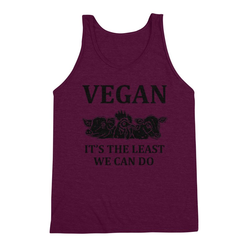 VEGAN IT'S THE LEAST WE CAN DO [Style 8] (Black Font) Men's Triblend Tank by That Vegan Couple's Shop