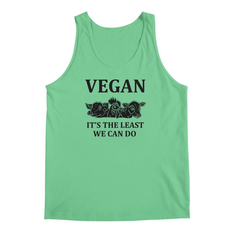 VEGAN IT'S THE LEAST WE CAN DO [Style 8] (Black Font) Men's Regular Tank by That Vegan Couple's Shop