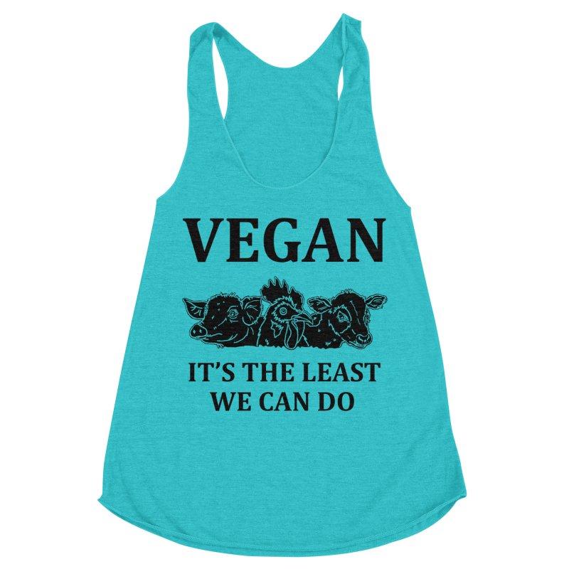 VEGAN IT'S THE LEAST WE CAN DO [Style 8] (Black Font) Women's Racerback Triblend Tank by That Vegan Couple's Shop