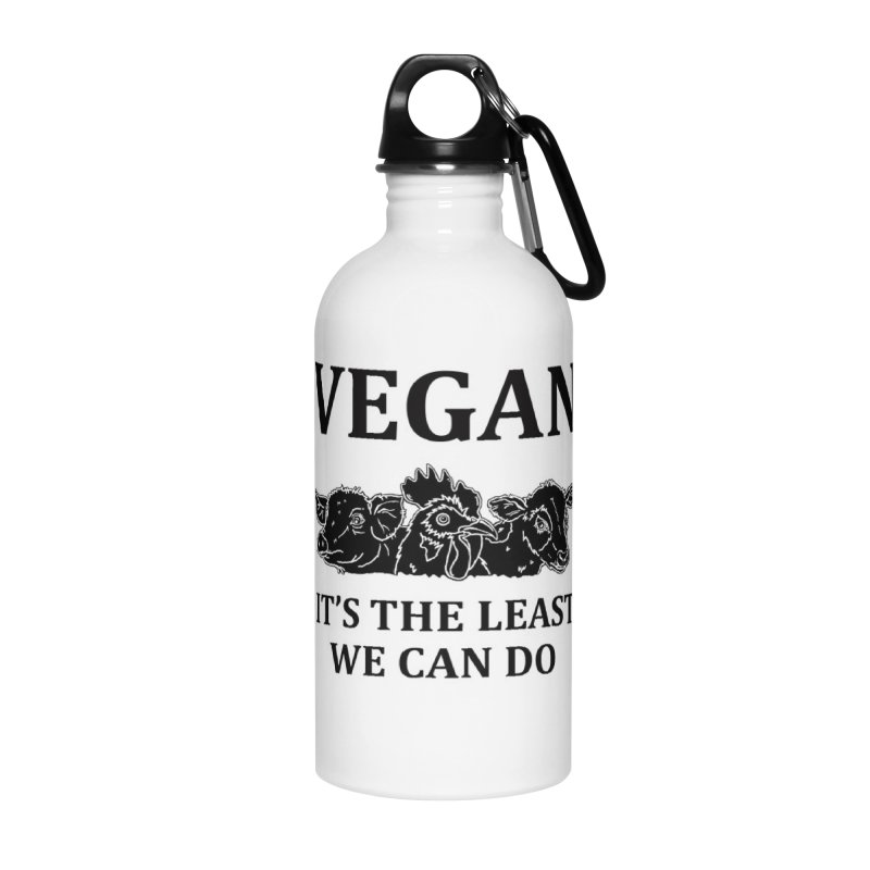 VEGAN IT'S THE LEAST WE CAN DO [Style 8] (Black Font) Accessories Water Bottle by That Vegan Couple's Shop