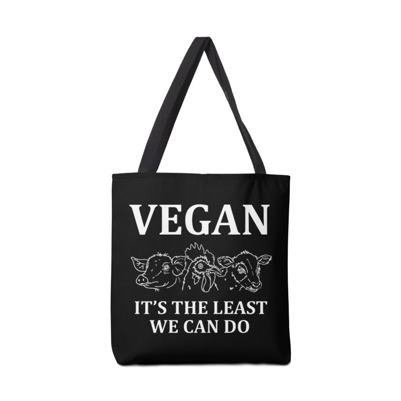 VEGAN IT'S THE LEAST WE CAN DO [Style 7] (White Font) Accessories Tote Bag Bag by That Vegan Couple's Shop