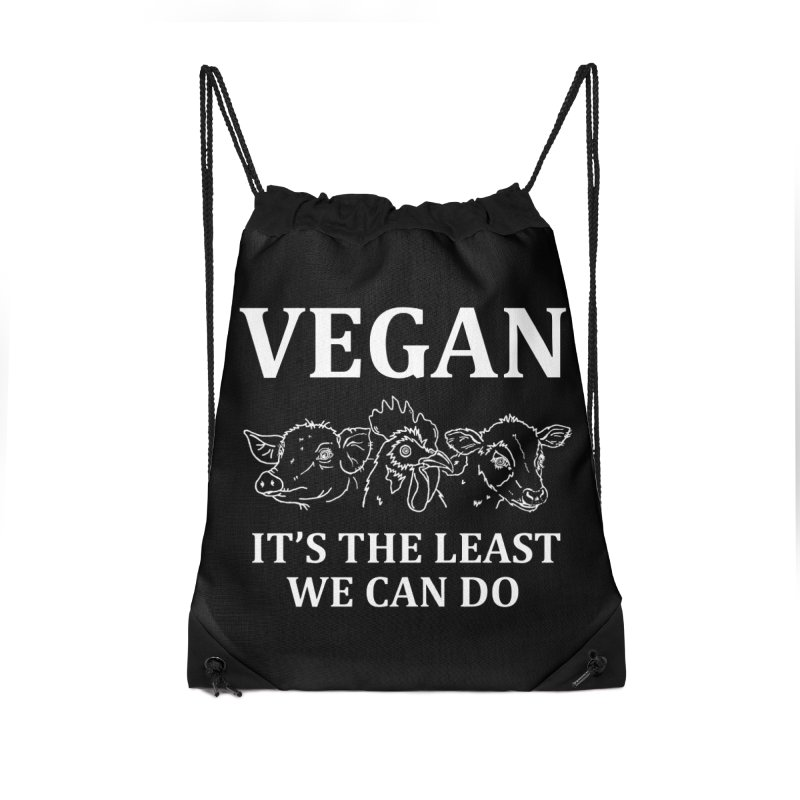 VEGAN IT'S THE LEAST WE CAN DO [Style 7] (White Font) Accessories Drawstring Bag Bag by That Vegan Couple's Shop