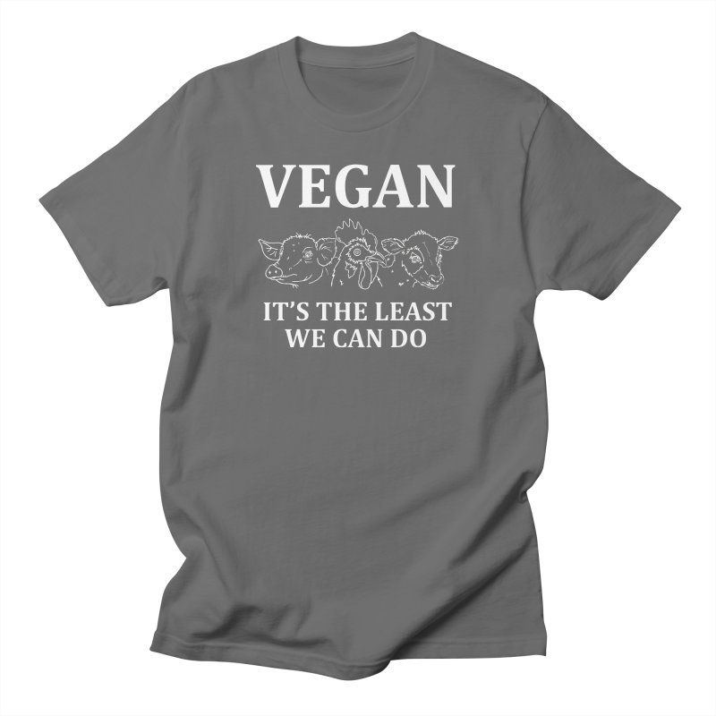 VEGAN IT'S THE LEAST WE CAN DO [Style 7] (White Font) Men's T-Shirt by That Vegan Couple's Shop