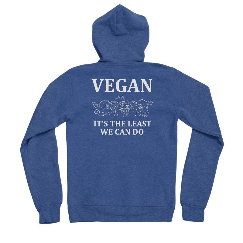 VEGAN IT'S THE LEAST WE CAN DO [Style 7] (White Font) Men's Sponge Fleece Zip-Up Hoody by That Vegan Couple's Shop