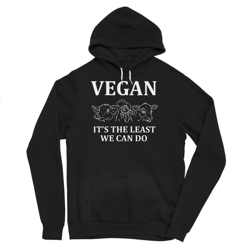 VEGAN IT'S THE LEAST WE CAN DO [Style 7] (White Font) Men's Sponge Fleece Pullover Hoody by That Vegan Couple's Shop