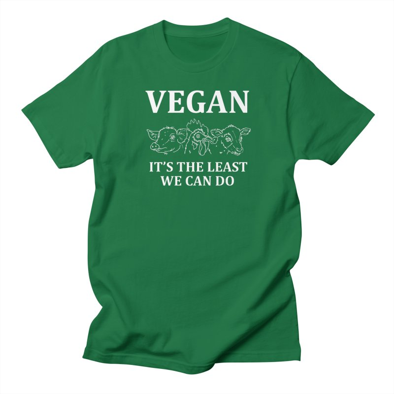 VEGAN IT'S THE LEAST WE CAN DO [Style 7] (White Font) Men's Regular T-Shirt by That Vegan Couple's Shop
