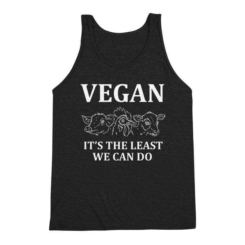 VEGAN IT'S THE LEAST WE CAN DO [Style 7] (White Font) Men's Triblend Tank by That Vegan Couple's Shop