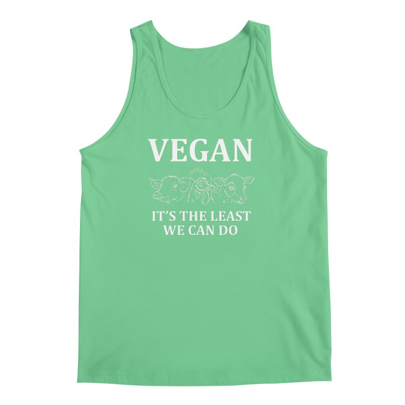 VEGAN IT'S THE LEAST WE CAN DO [Style 7] (White Font) Men's Regular Tank by That Vegan Couple's Shop
