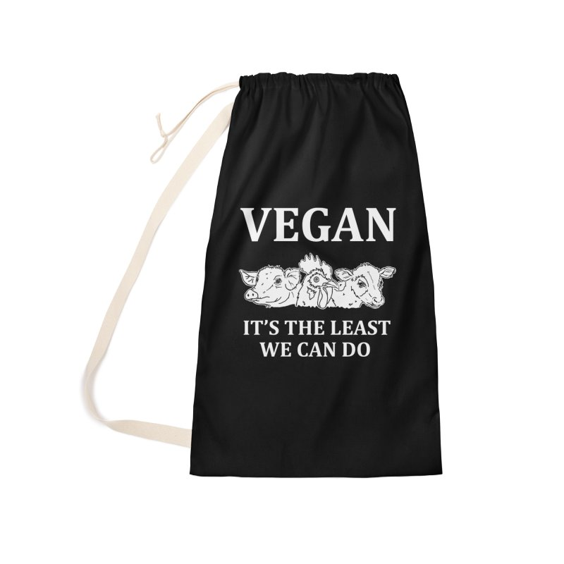 VEGAN IT'S THE LEAST WE CAN DO [Style 8] (White Font) Accessories Laundry Bag Bag by That Vegan Couple's Shop