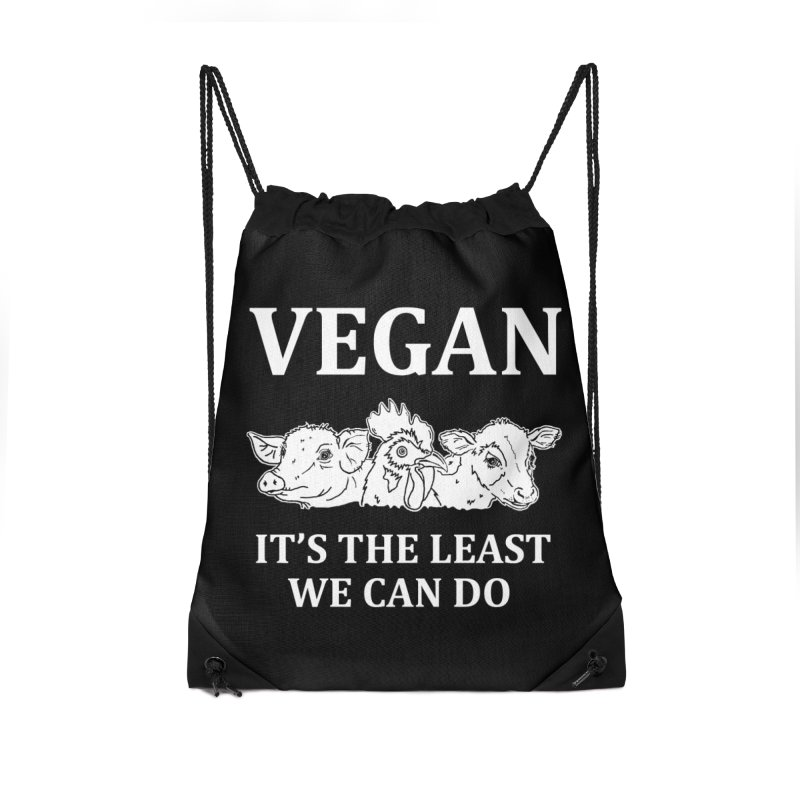 VEGAN IT'S THE LEAST WE CAN DO [Style 8] (White Font) Accessories Drawstring Bag Bag by That Vegan Couple's Shop