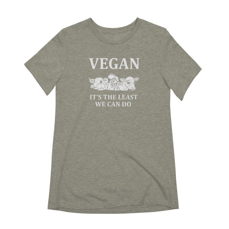 VEGAN IT'S THE LEAST WE CAN DO [Style 8] (White Font) Women's Extra Soft T-Shirt by That Vegan Couple's Shop