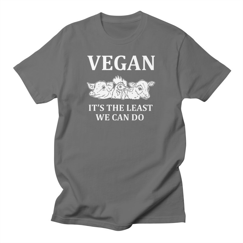 VEGAN IT'S THE LEAST WE CAN DO [Style 8] (White Font) Men's T-Shirt by That Vegan Couple's Shop