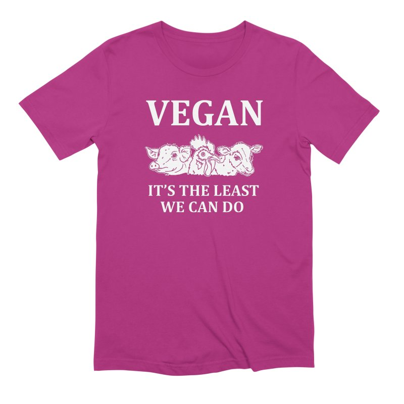 VEGAN IT'S THE LEAST WE CAN DO [Style 8] (White Font) Men's Extra Soft T-Shirt by That Vegan Couple's Shop