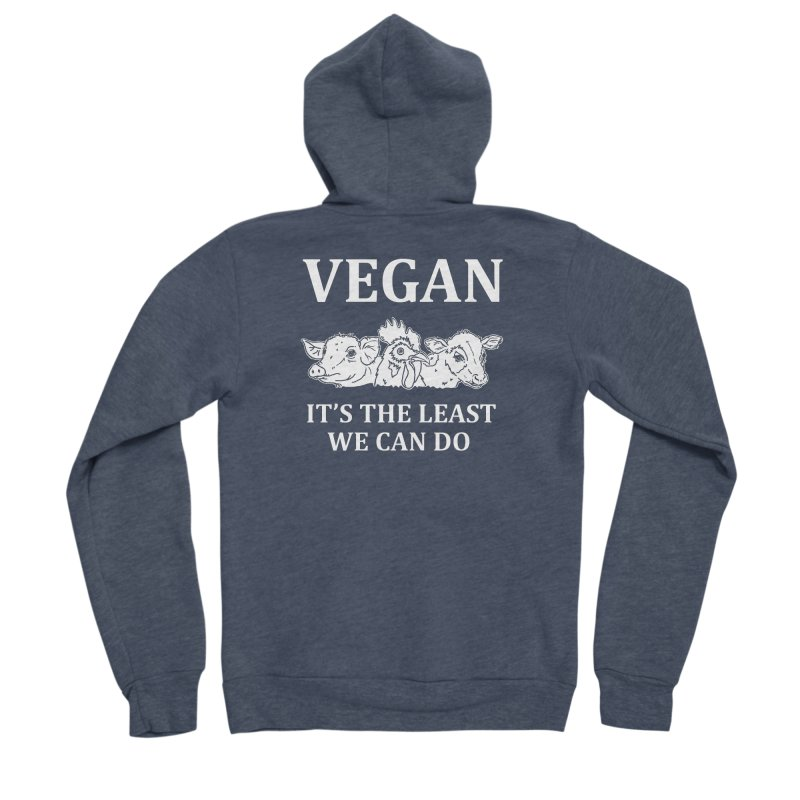 VEGAN IT'S THE LEAST WE CAN DO [Style 8] (White Font) Women's Sponge Fleece Zip-Up Hoody by That Vegan Couple's Shop