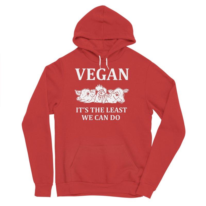 VEGAN IT'S THE LEAST WE CAN DO [Style 8] (White Font) Men's Sponge Fleece Pullover Hoody by That Vegan Couple's Shop