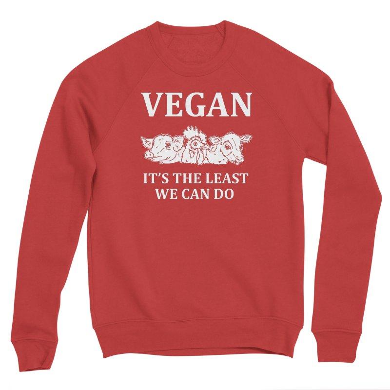 VEGAN IT'S THE LEAST WE CAN DO [Style 8] (White Font) Women's Sponge Fleece Sweatshirt by That Vegan Couple's Shop