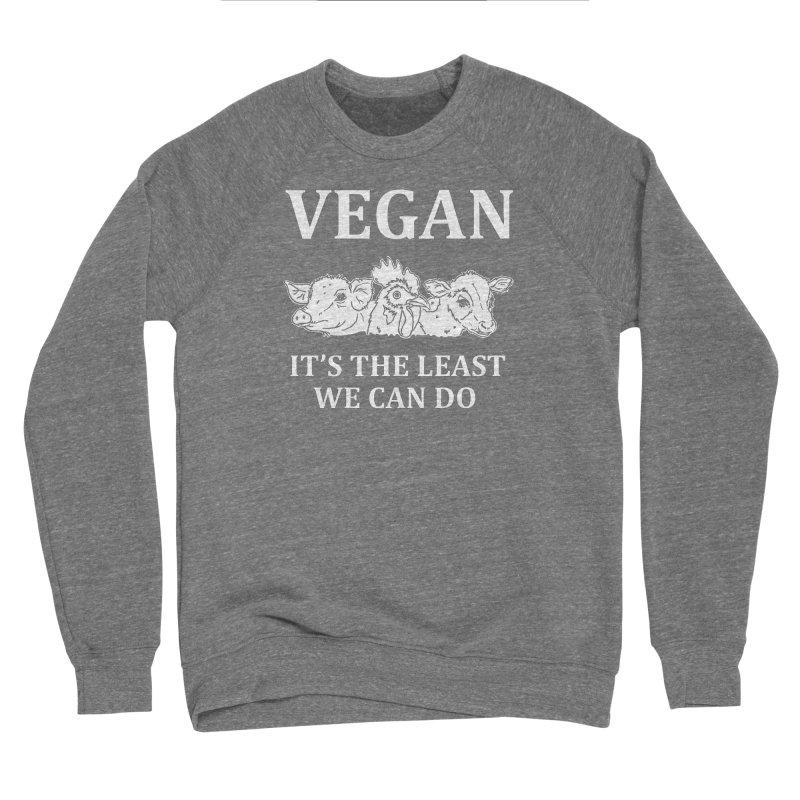 VEGAN IT'S THE LEAST WE CAN DO [Style 8] (White Font) Men's Sponge Fleece Sweatshirt by That Vegan Couple's Shop
