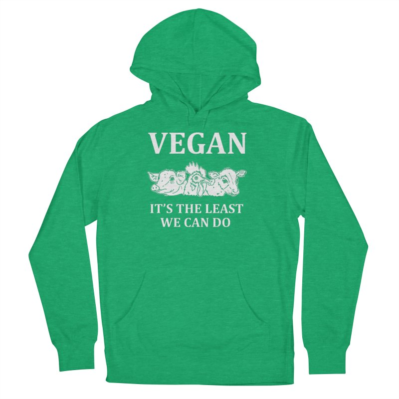VEGAN IT'S THE LEAST WE CAN DO [Style 8] (White Font) Men's French Terry Pullover Hoody by That Vegan Couple's Shop