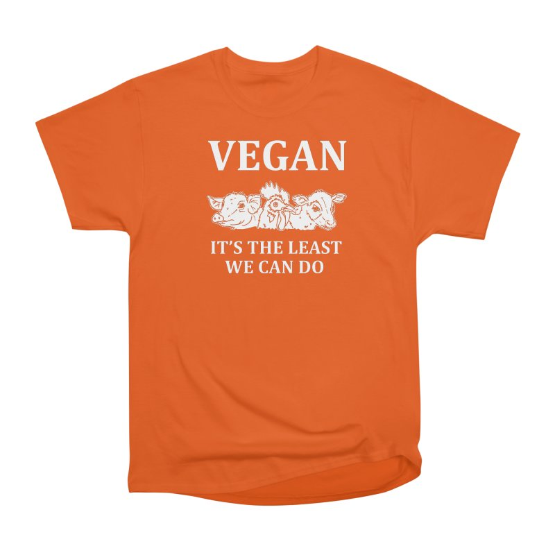 VEGAN IT'S THE LEAST WE CAN DO [Style 8] (White Font) Men's Heavyweight T-Shirt by That Vegan Couple's Shop