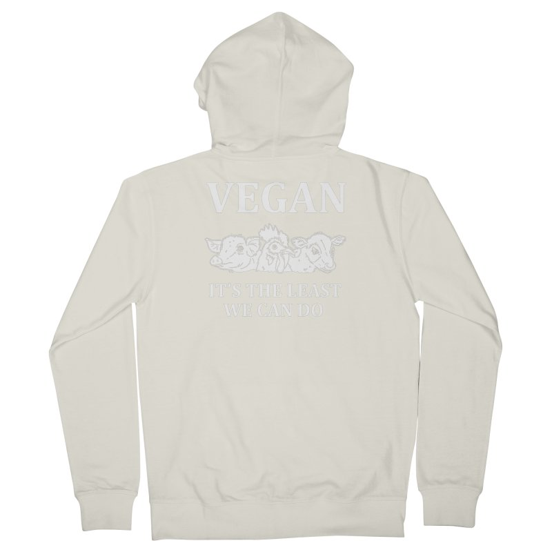 VEGAN IT'S THE LEAST WE CAN DO [Style 8] (White Font) Men's Zip-Up Hoody by That Vegan Couple's Shop