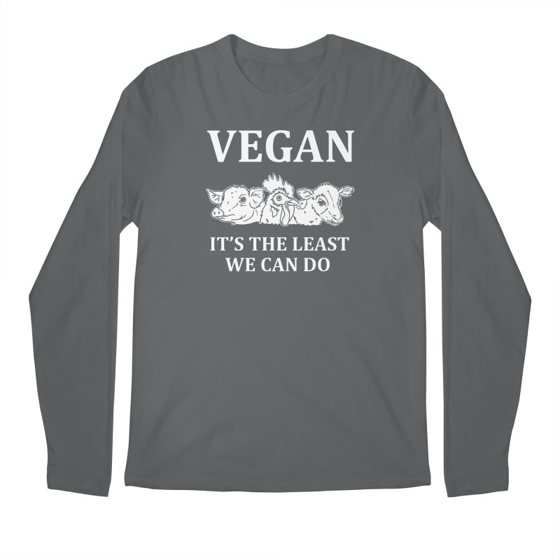 VEGAN IT'S THE LEAST WE CAN DO [Style 8] (White Font) Men's Longsleeve T-Shirt by That Vegan Couple's Shop
