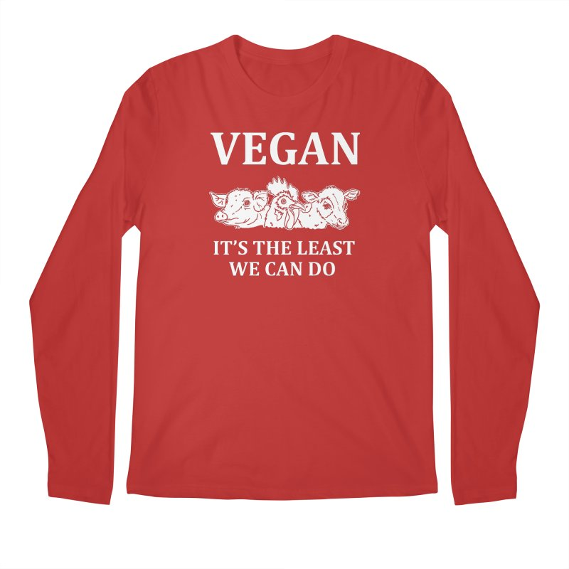 VEGAN IT'S THE LEAST WE CAN DO [Style 8] (White Font) Men's Regular Longsleeve T-Shirt by That Vegan Couple's Shop