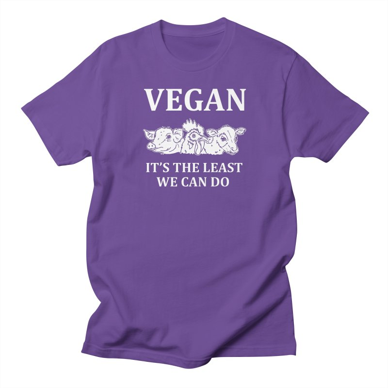 VEGAN IT'S THE LEAST WE CAN DO [Style 8] (White Font) Women's T-Shirt by That Vegan Couple's Shop